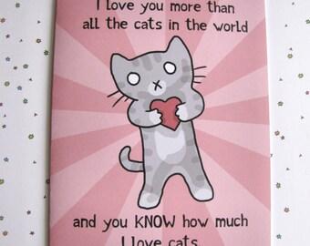 Valentines Card Cat Card Cute Greeting Card Cat Lover Card Valentine's Day Card Love Card