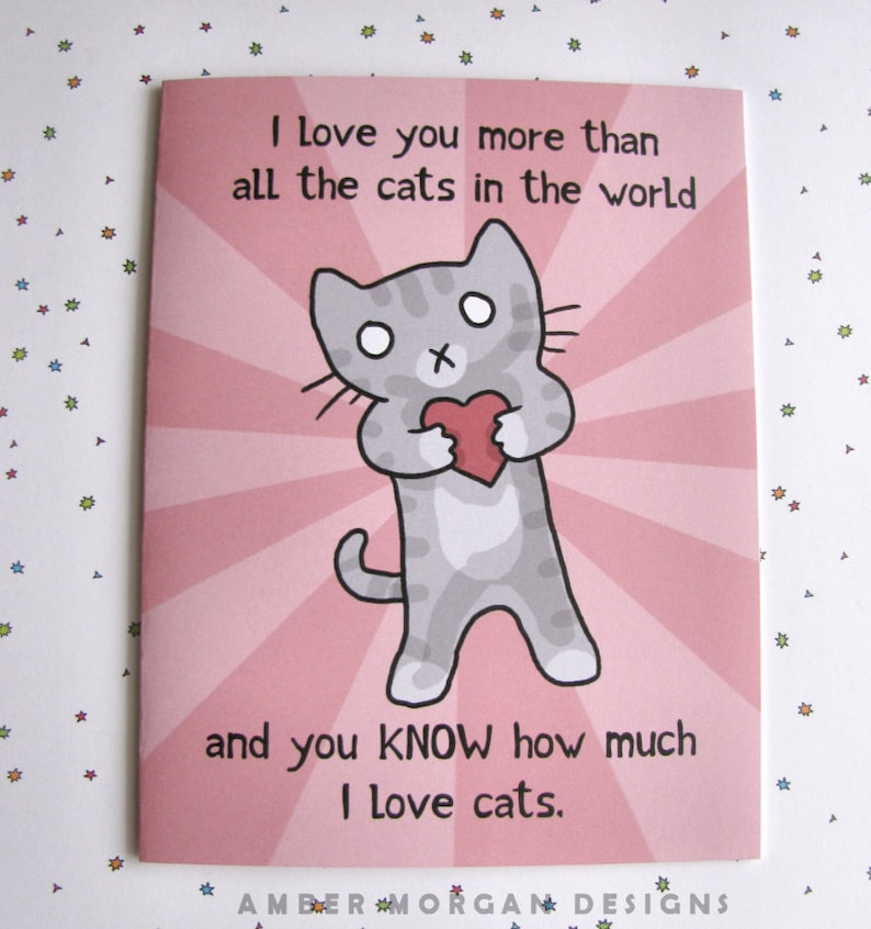 Valentines Card Cat Card Cute Greeting Card Cat Lover Card image 0