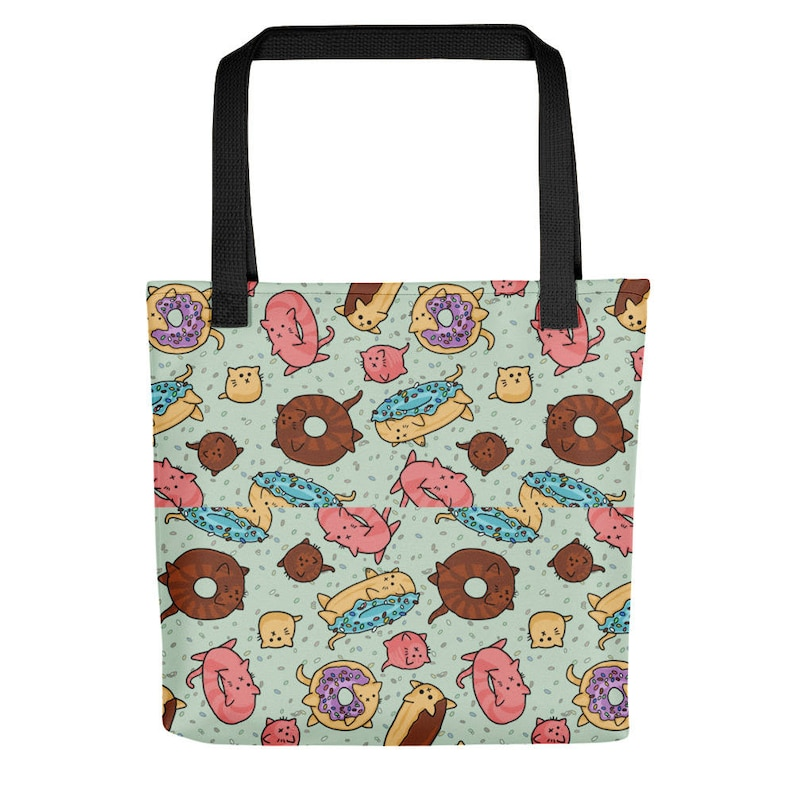 Donut Cats Tote bag Shopping Bag Reusable Cute Cats Funny image 0
