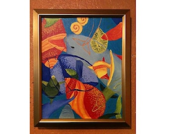 Abstract dolphins painting. Cubist, seashells, bright, colorful, tropical, small, acrylic, sea creatures, Hawaii, Australia, playful, framed