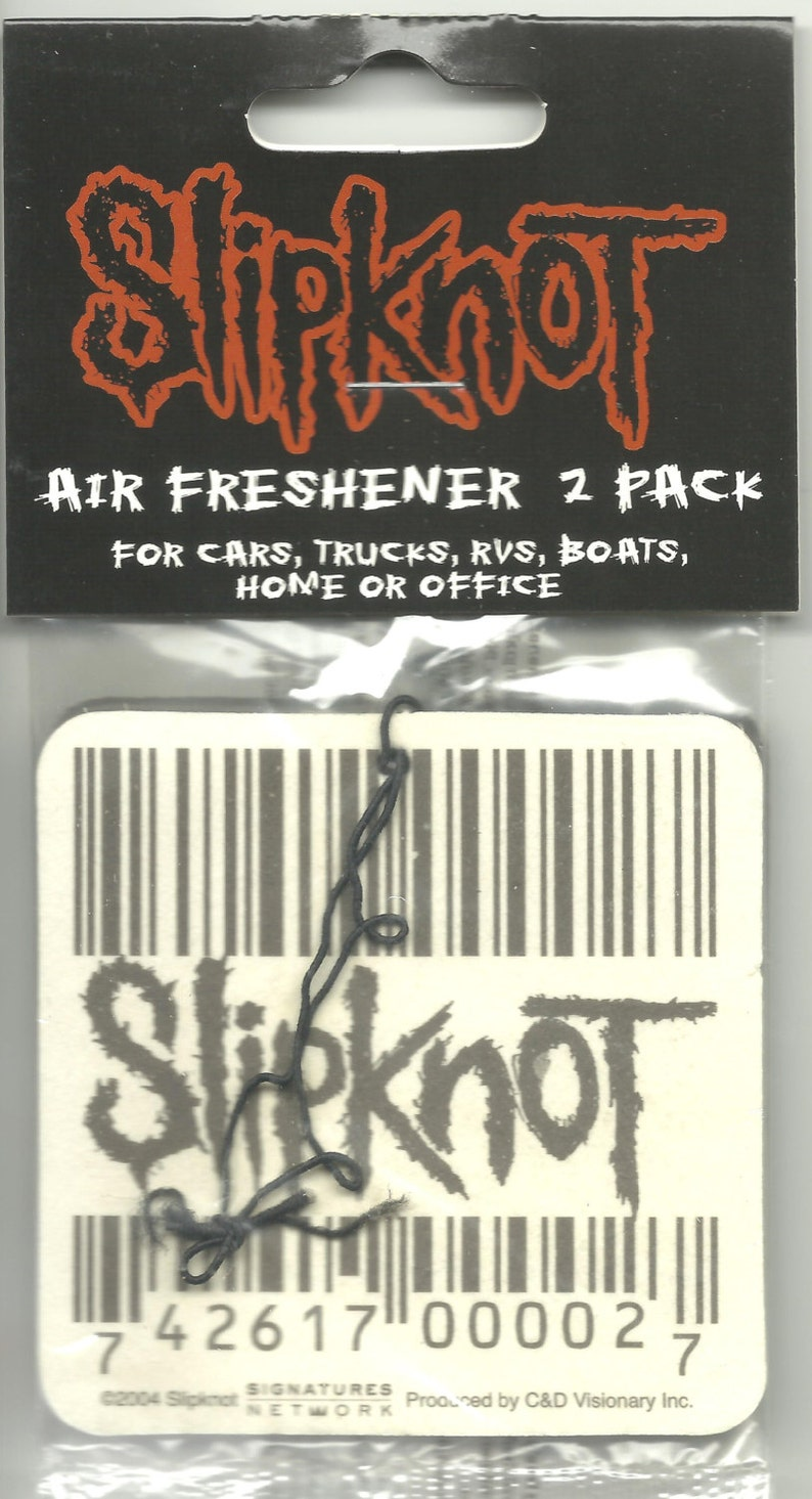 SLIPKNOT barcode/logo VINTAGE twin pack of air fresheners 8 centimetres / 3  inches - very rare - new/sealed - cinnamon scented