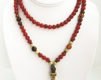 Ganesh Mala 108 Beads Carnelian, Spider Agate, Bodhi Seeds, Lotus Seeds & Faceted Agate
