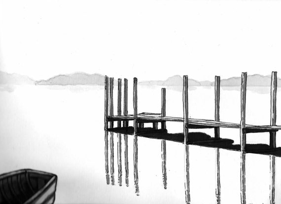 Dock on the lake marker drawing etsy freerunsca Gallery