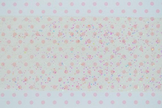 55mm Pastel Yellow Iridescent Glitter Tulle Ribbon Fairy Kei Pop Kei Yume Kawaii Decoden 5 Yards