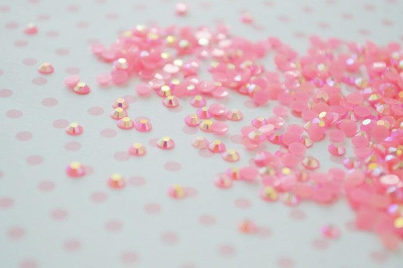 200 piece set 3mm Kawaii Pink Iridescent Ab Jelly Rhinestone Flatback