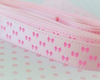 16mm Kawaii Pastel Pink Satin Ribbon With Pink Bow Print - 5 yards