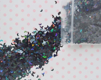 3mm Iridescent Black Moon Glitter Resin Supplies Nail Art Slime Decoden - 5 grams
