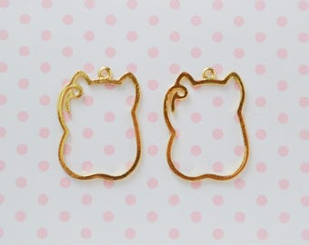 30mm Kawaii Golden Maneki Neko Beckoning Cat Bezel Charm Pendant UV Renin Decoden - set of 2