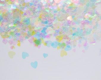 3mm - 6mm Mixed Size Clear Iridescent Heart Glitter Resin Nail Art Slime Decoden - 5 grams
