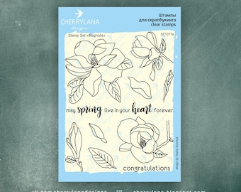 "Magnolia Set of Stamps 4x6"" Clear Photopolymer, Clear Stamps, Clear Rubber Stamps, Stamp Set, Flower Stamps, Cherrylana"