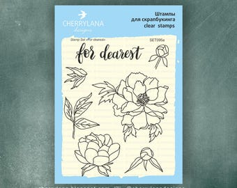 "For Dearest Peoney Set of Stamps 4x6"" Clear Photopolymer, Clear Stamps, Clear Rubber Stamps, Stamp Set, Flower Stamps, Cherrylana"