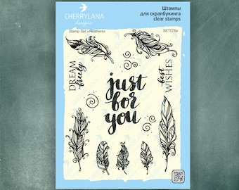 "Feathers Set of Stamps 6x8"" Clear Photopolymer, Clear Stamps, Clear Rubber Stamps, Stamp Set, Feather Stamps, Cherrylana"