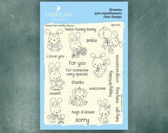 "Honey Bunny Set of Easter Stamps 4x6"" Clear Photopolymer Rubber Cutie Rabbit Stamp Set"