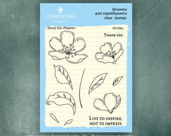 "Inspire Set of Stamps 4x6"" Clear Photopolymer, Clear Stamps, Clear Rubber Stamps, Stamp Set, Flower Stamps, Cherrylana"