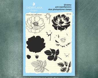 "Wild Rose Set of Stamps 6x8"" Clear Photopolymer Rubber Flower Layered Stamp Set"