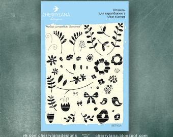 "FlowerRing Set of Stamps 4x6"" Clear Photopolymer Flower Rubber Stamp Set"
