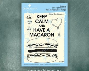 Macaron Set of Stamps Clear Photopolymer Rubber Birthday Stamps