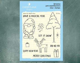 "Magical Year Set of Christmas Stamps 4x6"" Clear Photopolymer New Year Rubber Stamps Set"