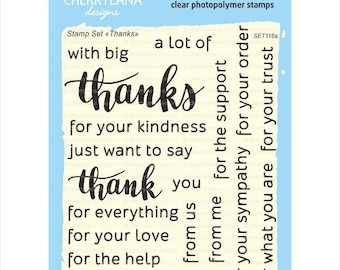Thank You Set of Calligraphy Clear Photopolymer Rubber Stamps