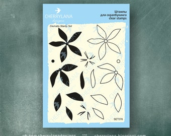 "Clematis Set of Stamps 4x6"" Clear Rubber Photopolymer Flower Stamp Set Cherrylana"