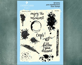 "Oops! Ink Splats Set of Stamps 6x8"" Clear Photopolymer, Clear Stamps, Clear Rubber Stamps, Stamp Set, Splash Stamps, Cherrylana"