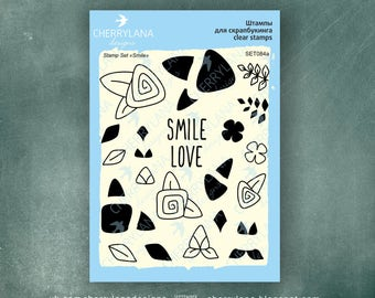 "Smile Set of Flower Stamps 4x6"" Clear Photopolymer Rubber Stamp Set"