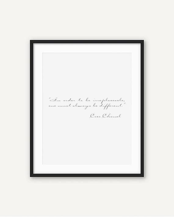 Coco Chanel Unersetzlich Zitat Druckbare Kunst Home Decor Inspirierende Französisch Anspruchsvolle Poster Schwarz Weiß Typografie Skript