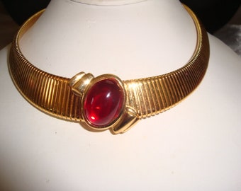 Vintage Monet Gold Tone Omega with Red Cabochon Slider Necklace