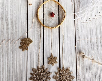 Golden Holiday Dream Catcher / Wall Hanging