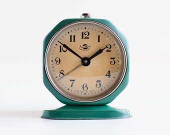 RESERVED - Alarm clock  - Green clock - Vintage alarm clock - Vintage soviet clock - Table clock - Working condition