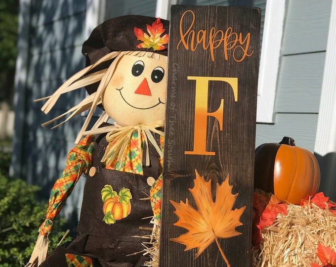 Happy Fall - Happy Fall Porch Sign - Rustic Fall Sign - Autumn Decor - Fall Door Decor - Harvest Decor