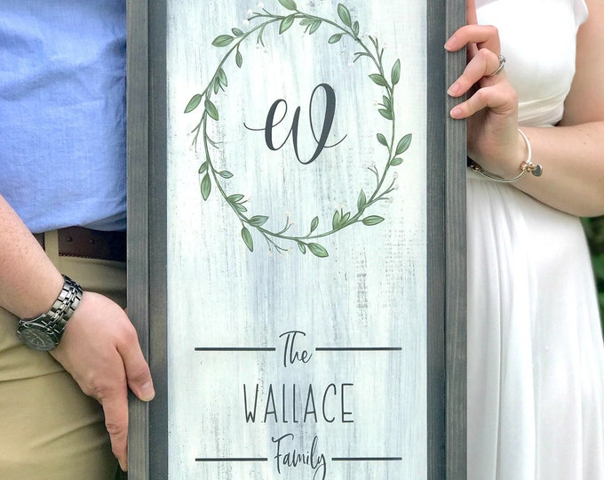 Family Name Monogram Sign - Framed Sign - Personalized Family Name Sign - Wood Sign - Hand Painted - Rustic - Monogram Wreath - Wedding Gift