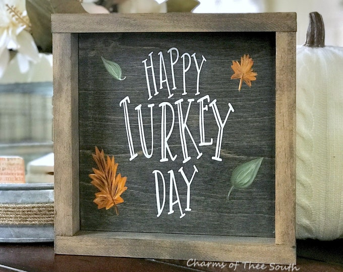 Happy Turkey Day Sign - Thanksgiving Wood Sign - Double Side Sign - Holiday Sign - Rustic Decor - Merry Christmas Sign - Framed Sign