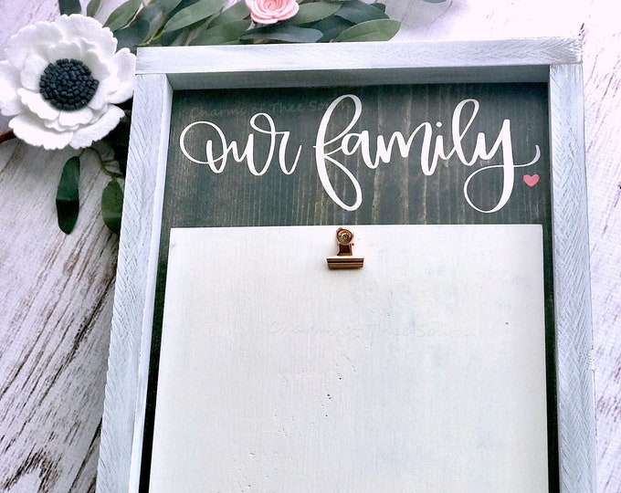Our Family - Rustic - Photo Sign - Farmhouse Decor - Rustic Picture Frame - Wedding Gift - Anniversary Gift - Baby Shower Gift