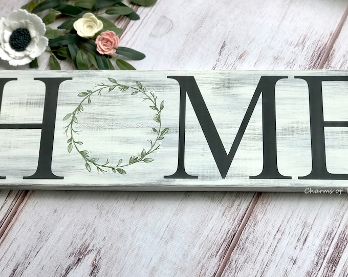 Home Sign - Home with Wreath Sign - Entryway Decor - Rustic Decor - Farmhouse Decor - Housewarming Gift - Hand Painted