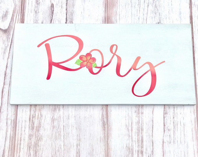 Large Nursery Baby Girl Name Sign - Little Girl Room - Hand Painted - BabyShower Gift - Custom Name Sign - Flower Nursery