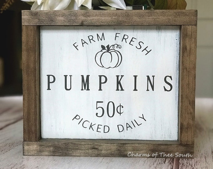 Farm Fresh Pumpkins Sign - Fall Decor - Pumpkin Decor - Mini Wood Sign - Framed Wood Sign - Hand Painted