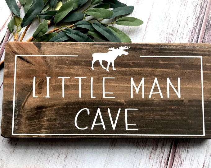 Little Man Cave - Wood Sign - Personalized Sign - Customizable Nursery Sign - Playroom Decor - Rustic Wood Sign