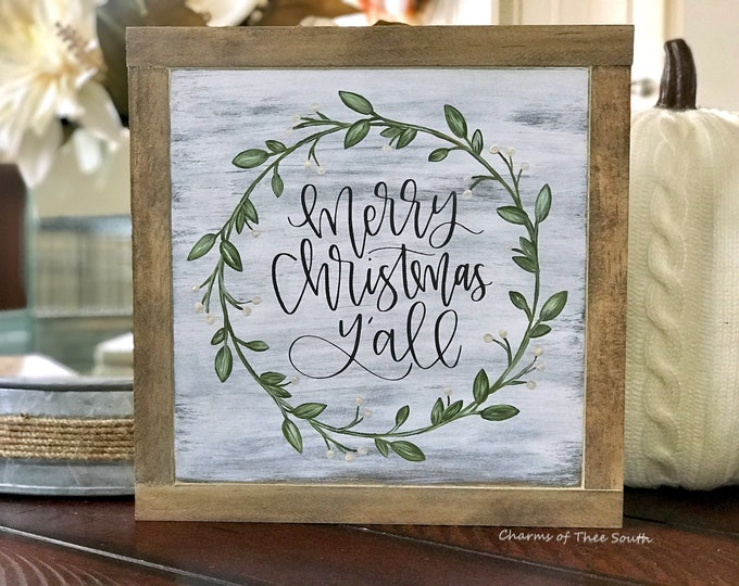 Merry Christmas Y'all - Christmas Wood Sign - Double Side Sign - Holiday Sign - Rustic Decor - Merry Christmas Sign - Framed Sign