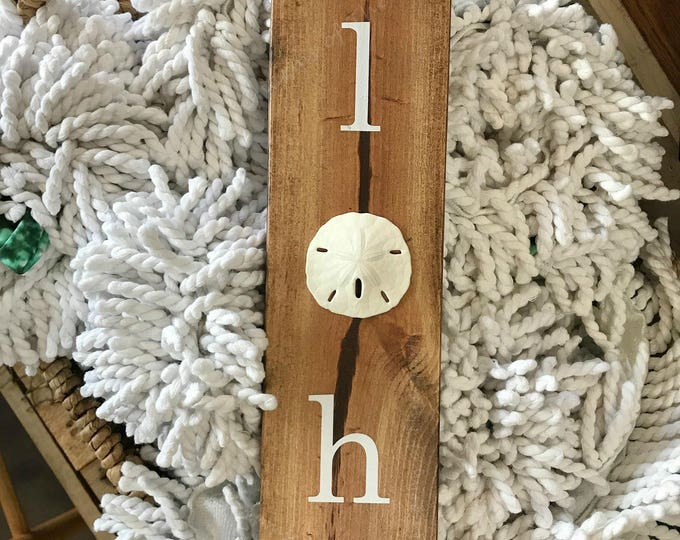 Aloha - Aloha Sign - Hawaiian Decor - Beach Cottage Decor - Beach House Decor - Sand Dollar Sign - Wall Art -  Coastal Wall Art -