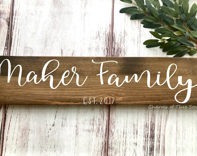 Family Name Wood Sign - Last Name Sign - Wedding Prop - Wedding Sign - Last Name Wood Sign - Family Established Sign - Family Name Gift