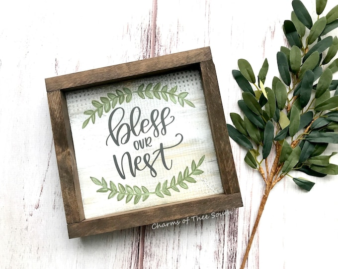 Bless Our Nest Sign - Bless Our Nest - Bless Our Nest Wood Sign - Framed Wood Sign - Farmhouse Sign - Rustic Sign - Gallery Wall Sign