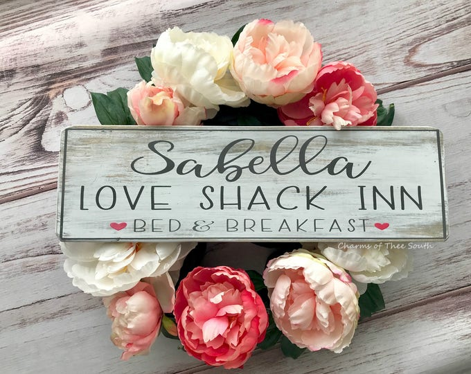 Bed & Breakfast Sign - Personalized Couple Sign - Valentine Wood Sign - Valentine's Day Decor - Custom Name Sign - Rustic Decor