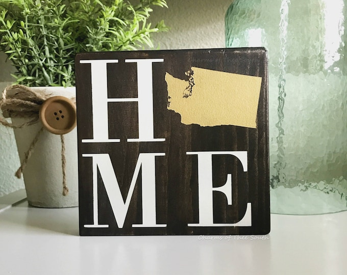 Mini Home State Sign - Home State Sign - Wood Rustic Family Sign - Living Room Decor - Gallery Wall Decor - State Sign - Wooden State Sign