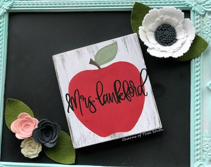 Teacher Name Sign - Desk Sign - Teacher Gift - Apple - Hand Painted Wood Sign - Teacher Name Plaque - Classroom Decor - Rustic Sign