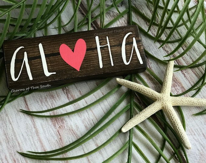 Aloha - Aloha Sign - Aloha Mini Sign  - Hawaiian Decor - Beach Decor - Wood Sign