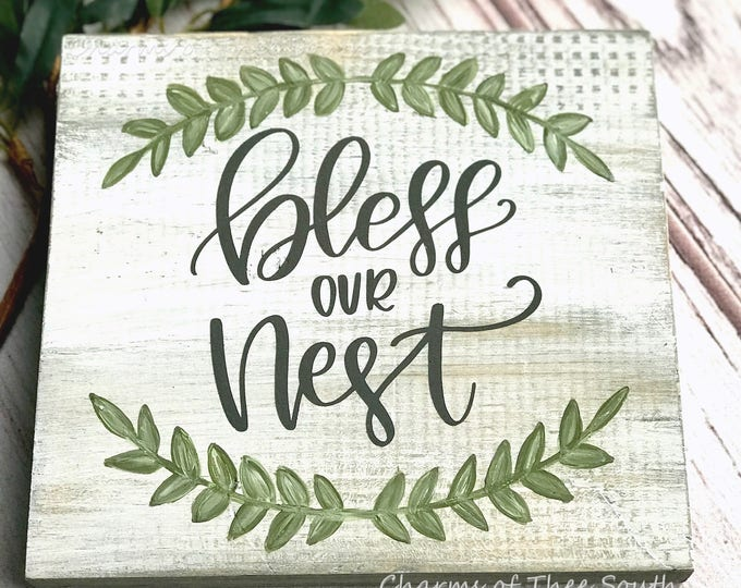 Bless Our Nest Sign - Bless Our Nest - Bless Our Nest Wood Sign - Farmhouse Sign - Rustic Sign - Gallery Wall Sign - Framed Wood Sign