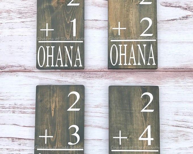 Family Flash Card - Ohana - Math Flash Card Family Sign - Family Number Sign - Baby Shower - Wedding - Hawaiian Sign -  Rustic Wood Sign