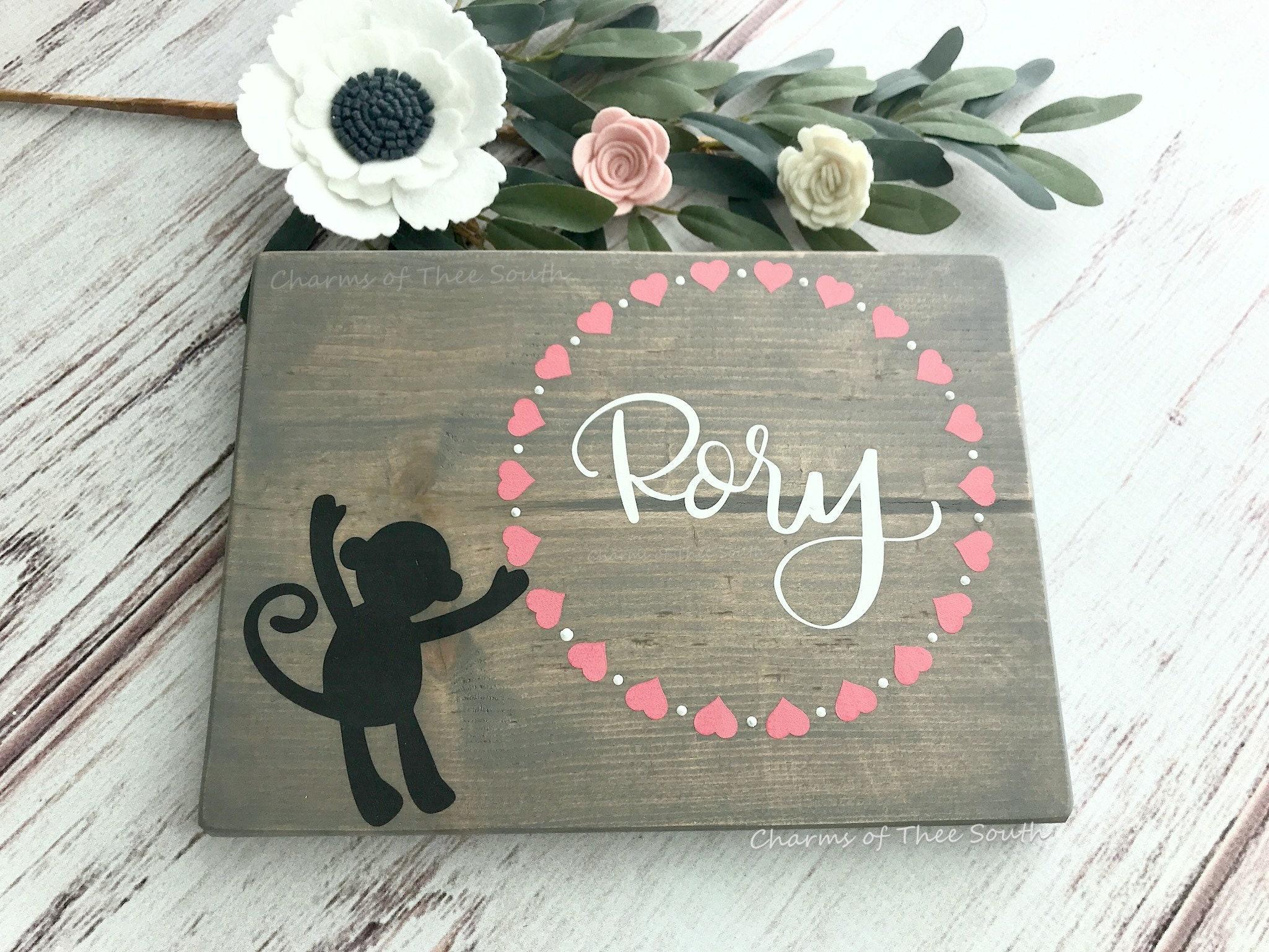 Monkey Nursery Decor  Custom Baby Name Wall Art