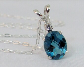 London Blue Topaz Necklace in Sterling Silver, 9x7mm Blue Topaz Gemstone, London Blue Jewelry, December Birthstone, Bride, Wedding Jewelry